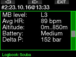 in the logbook. Below is an example of a Scuba mode dive.