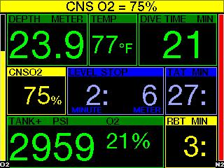 CNS O 2 reaches 75%, the G2 will warn you until the value drops below 75%. 3.5.5 Entering decompression The G2 can activate a warning when the first mandatory decompression stop appears.