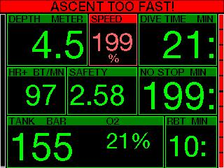 8 32 120 394 10 33 If the ascent rate is greater than 110% of the ideal value, the speed window turns yellow.