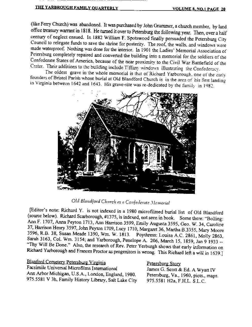 THE YARBROUGH FAMILY QUARTERLY VOLUME 8. N0.1 PAGE 20 (like Ferry Church) was abandoned. It was purchased by John Grammer, a church member, by land office treasury warrant in 1818.