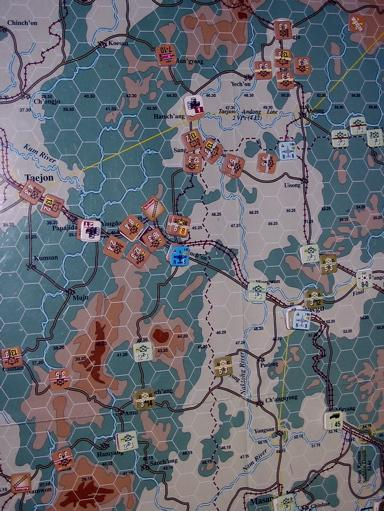sudden, and moves US 25th XX to attack lead element of NK 4th XX at Anui. Support tables are turned: we attack with advantage of support.