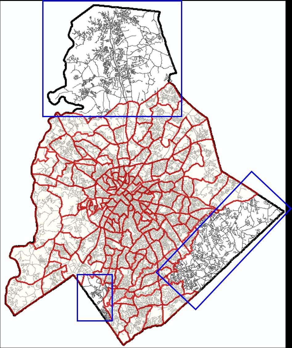 Exhibit 2: Quality of Life Study Area Red lines represent specific neighborhoods and their Quality of Life (QoL) features; dimensions on social well being, physical characteristics, crime and