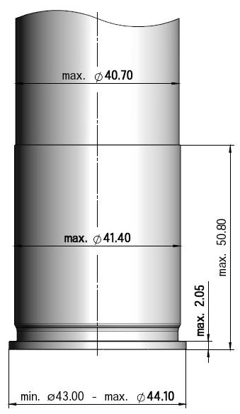4. Compatible ammunitions Compatibility is limited by dimensions and maximum pressures. The critical dimensions are outlined in fig. 4.1.