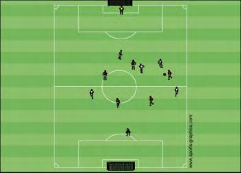 10. In this example the white goalkeeper is in a poor position.