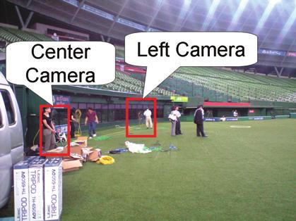 taken in the real baseball stadium. The camera and PC s spec which is used to this experiment is as follows. Camera : Canon XHG1(1440 1080) CPU : Intel Core 2 Duo 2.80 GHz Memory : 3.