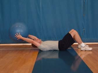 The Fold with Ball Start Transition Finish Lie on your back with your knees bent, feet flat on the floor. Now hold the ball in your hands over your head approximately one to two inches off the floor.
