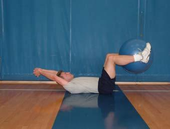 Continue moving the ball toward your knees as you lift your upper vertebra one at a time into a crunch. Simultaneously and hips off the floor bringing knees toward your elbows.