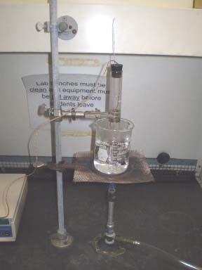 Put about 300 ml of water into the beaker, place the beaker upon a wire gauze supported by a ring stand, and heat the water to boiling using a Bunsen burner.