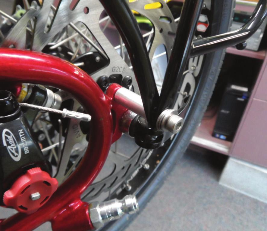 Accessories: Rear Rack Mount Legs To Bicycle Frame -continued b) Non-Adjustable Dropouts (steel, painted, brazed to the frame) & Disc Brakes.