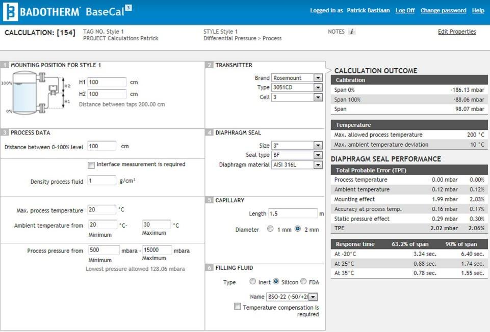 Case Study 3 Using BaseCal BaseCal is the web-based performance calculation tool for diaphragm seal applications, powered by Badotherm.