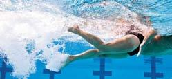 6-6B As your hand passes your shoulder, let it lead the rest of your arm to the entry point. A flutter kick (a continuous, upward-and-downward kicking motion of the legs) is used in the front crawl.