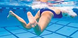 Propulsion results from the reactive pressure of the water against the insides of the feet and lower legs. The breaststroke kick starts from the glide position.