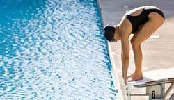 Before attempting any competitive racing start, you must be able to safely perform a shallow-angle dive from the deck.