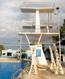 Diving Equipment Diving Facilities and Commercial Pools Diving is performed from a springboard or platform. Well-equipped facilities may have 1-meter and 3-meter springboards as well as 5-meter, 7.