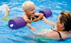 Dive rings and other sinking pool toys can help beginners practice submerging or underwater swimming. Kickboards help support the upper body and make it easier to breathe while practicing kicking.