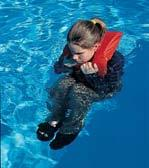 To get into the HELP position, draw your knees up to your chest, keeping your face forward and out of the water.