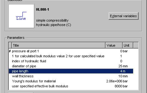 Figure 1.5: Setting the line submodel HL000 parameters. 3. To display the parameters of a line submodel click the left mouse button with the pointer on or near the appropriate line run.
