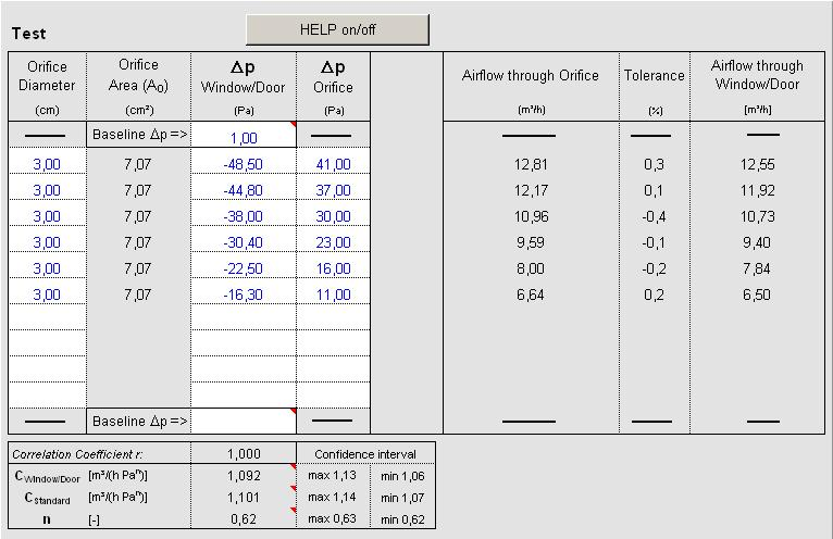 "6 Test Report in Excel Measurement (Test): - HELP on/off: The ""Help"" button shows an outline with the representation of the pressure differences Δp Window/Door and Δp Orifice."