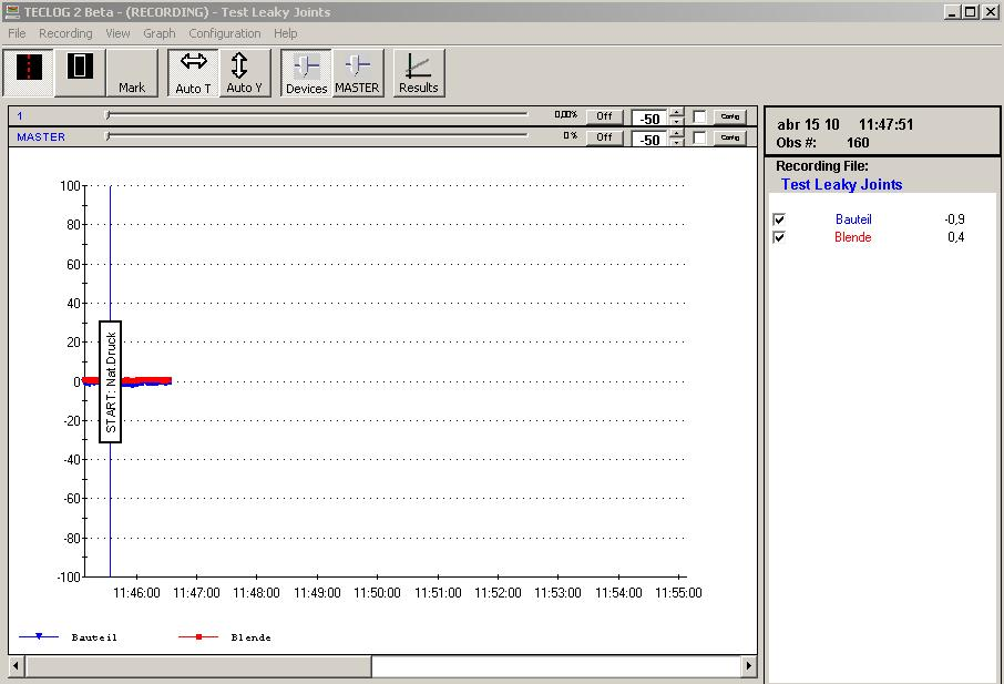 If the checkbox show text on the graph has been activated, the label is also shown on the graph. Exit by clicking OK.