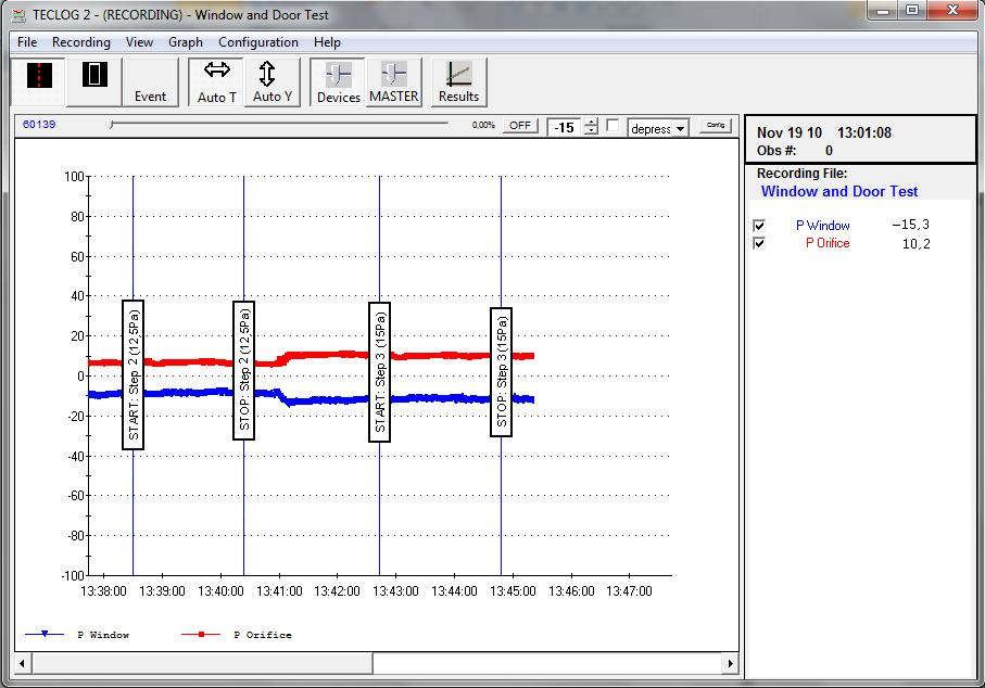 2 Installation Step 6: Data Logging with TECLOG2 The recording of the pressure differences (Δp Orifice and Δp Window/Door ) is done with the TECLOG2 software.