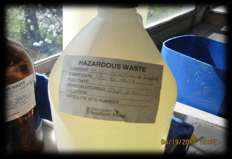 WASTE Hazardous waste at USM is collected and stored at satellite