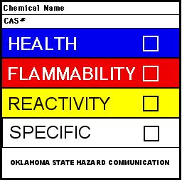 The NFPA label shown on the lower left shows a rating of hazard level for four