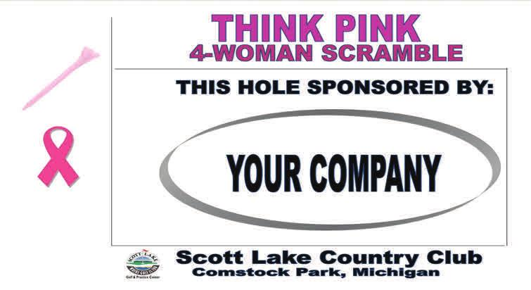 Title Sponsor - The title sponsor will have their name in the title. THINK PINK sponsored by Company. They will have their logo on all promo materials.