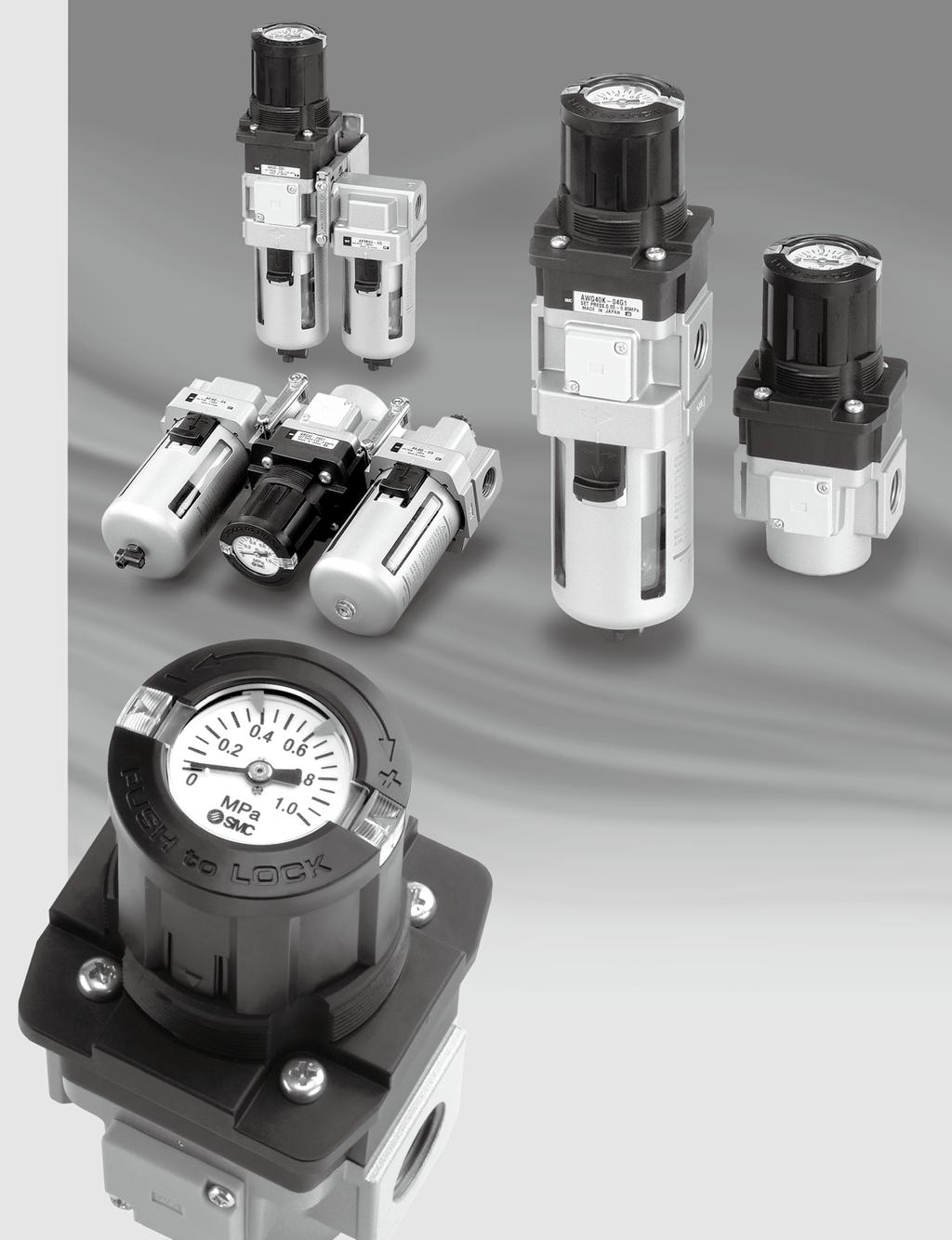 Regulator with uilt-in ressure auge ilter Regulator with uilt-in ressure auge Series /R/W - - - R- L- W- R L W V Visibility of pressure gauge is