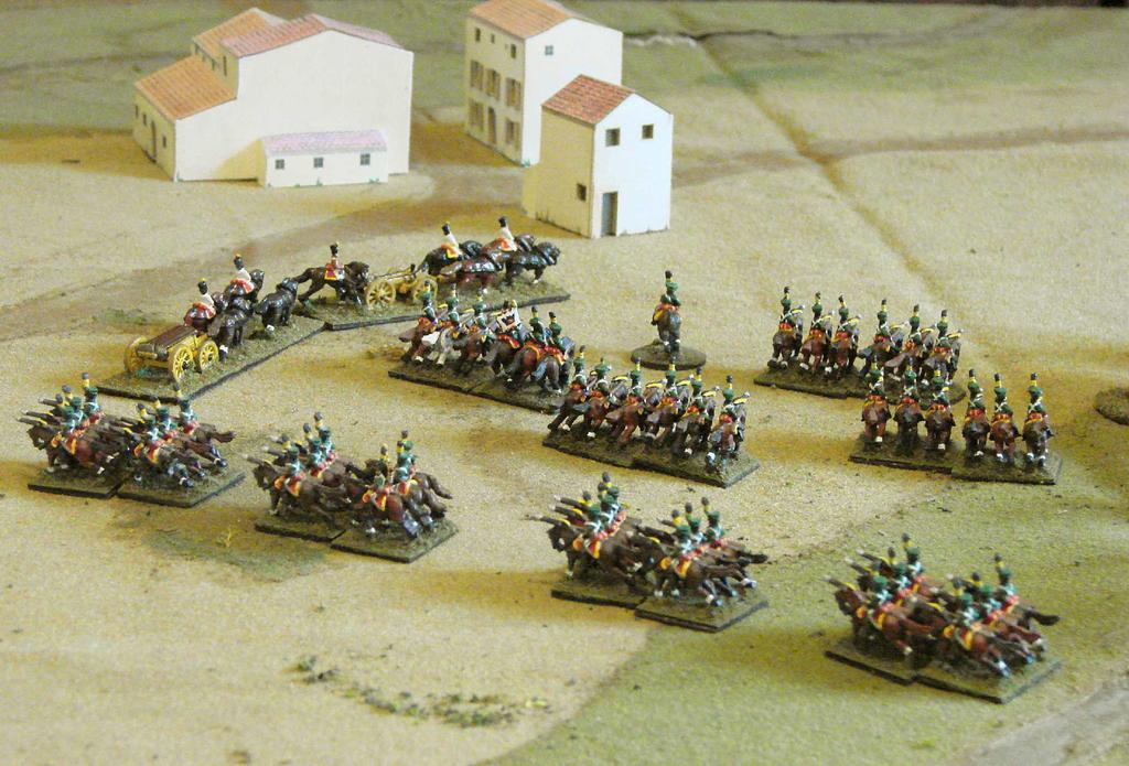 Merveldt's Uhlans deploying in front of the plateau. At Novi di Modena, Ambrosio observed the arrival of Staab's brigade and realized he was not strong enough to hold his position.
