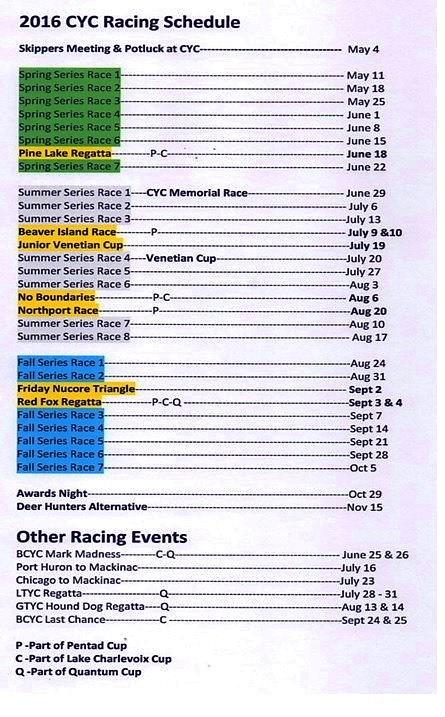 Race Schedule can also be