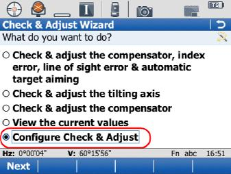 Check and Adjust User Options Configure Check and Adjust Options To set the user options for the Check & Adjust Wizard, choose the Configure Check & Adjust option from the main Wizard menu.