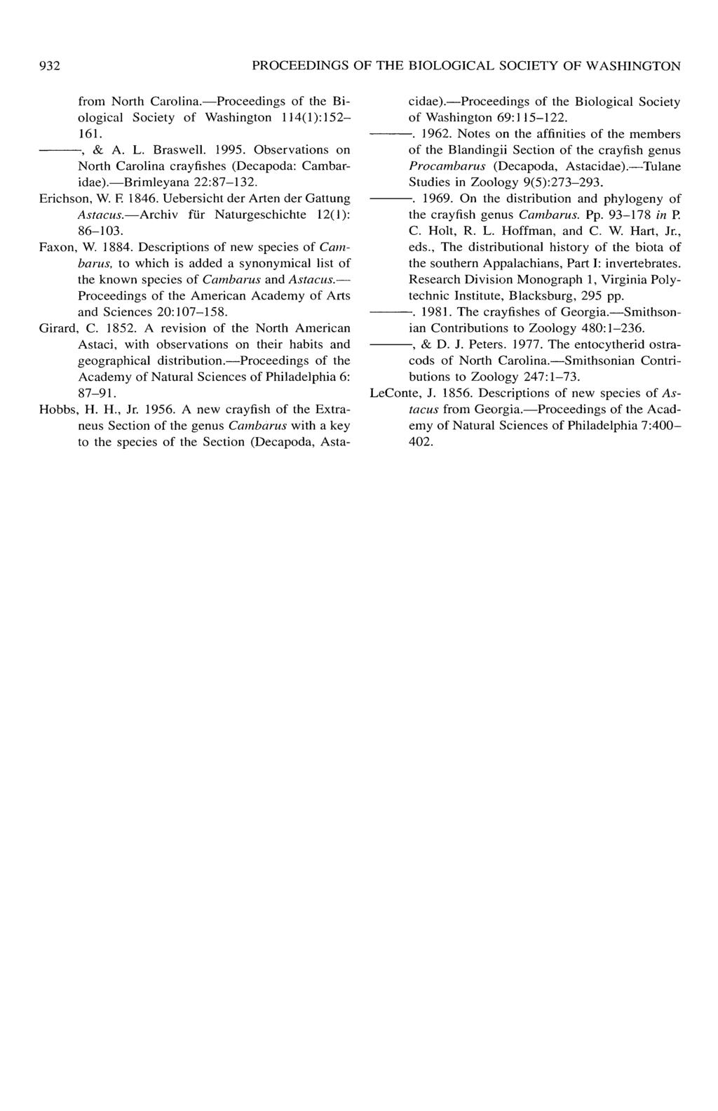 932 PROCEEDINGS OF THE BIOLOGICAL SOCIETY OF WASHINGTON from North Carolina. Proceedings of the Biological Society of Washington 114(1): 152 161., & A. L. Braswell. 1995.
