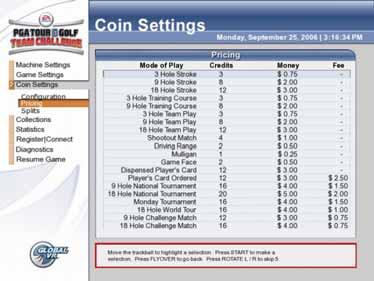 Coin Settings, Pricing Menu This menu lets you set pricing for each mode of play. The Money column displays the set price in money. The Fee column displays any applicable upcharge fees. Figure 7.