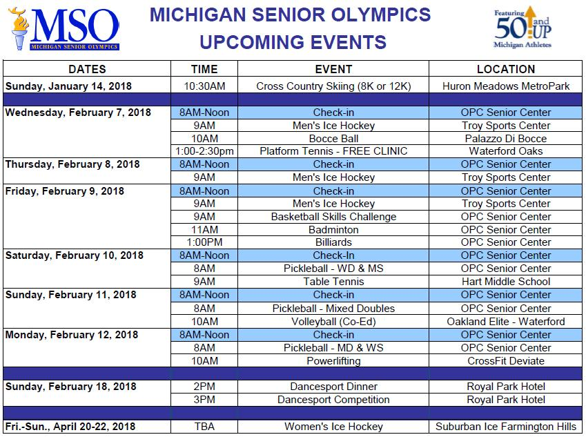 REGISTRATION DEADLINE: JANUARY 19, 2018 Office: (248) 608-0250 248) 608-0252 E-mail: info@michiganseniorolympics.org Website: www.michiganseniorolympics.org FIND US ON FACEBOOK: Michigan Senior Olympics VOLUNTEERS NEEDED!
