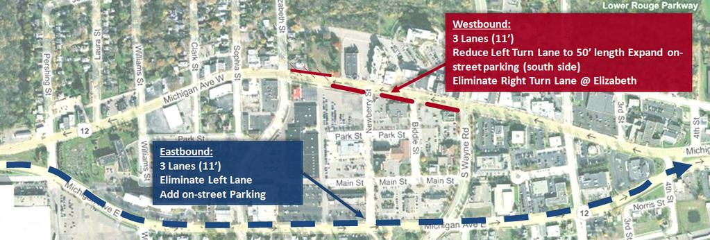 connections would be significantly improved with a two-way access between eastbound Michigan and Veterans Plaza. Newberry Street.