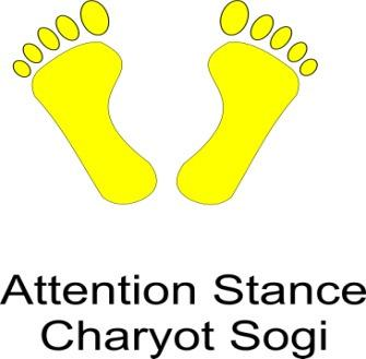 Attention Stance:- When the command Chariot (Attention) is given, bring both feet together and place your hands straight down at the sides.