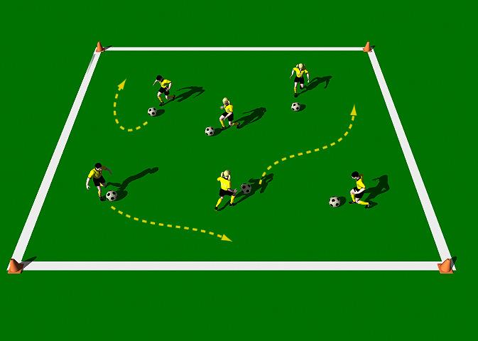 Week Two Drill Three Show me the Moves Exercise Objectives: This practice is designed to improve the player s technical ability when dribbling and running with the ball.