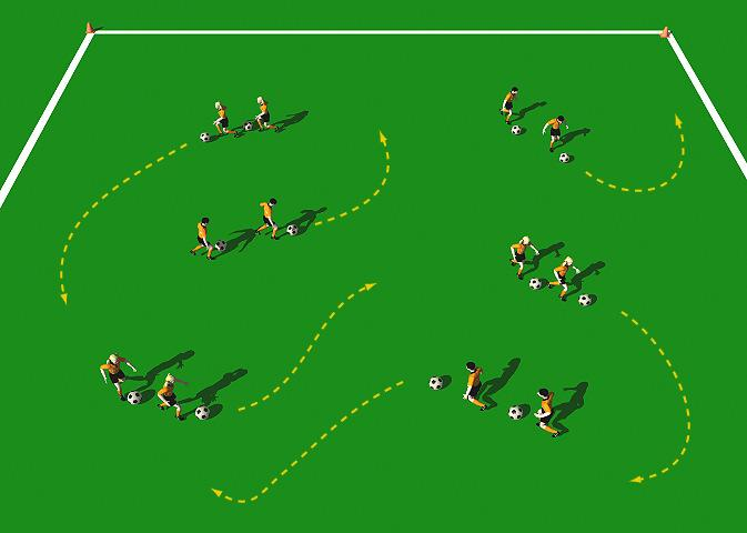 Week Two Drill Two Truck and Trailer Exercise Objectives: This practice is designed to improve the player s technical ability when dribbling and running with the ball.