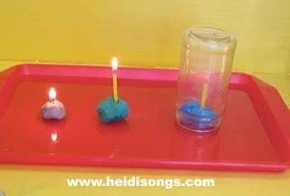 Place the glass jar over the top of the first candle and watch the flame go out. Ask the Cubs why it went out - it ran out of air!