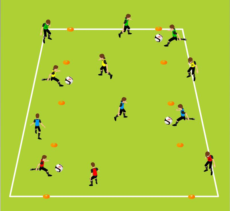 Week Six Warm Up Short Short Long Passing/Receiving Technique, Movement without the ball 2 lines of cones 20 yards (length) and 10 yards (width) increase/decrease based on ability and technique being