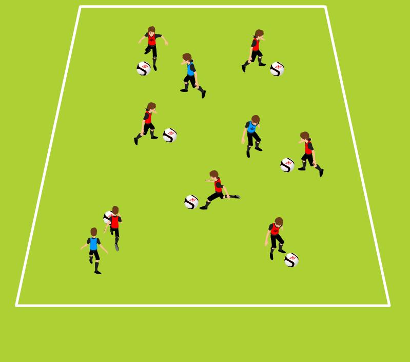 Week One Tech Game Tunnel Tag Dribbling under pressure, Shielding 10-20 yards (length) x 15 yards (width); vary size by age and ability 4 cones, ball for each attacking player, three pinnies Three