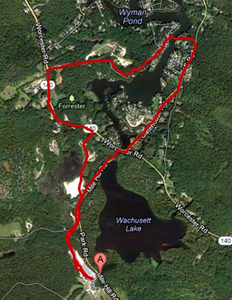 Course Description: Starts in the Wachusett Parking lot, travels down the hill into lot 3 and exits out on to Rte 140.