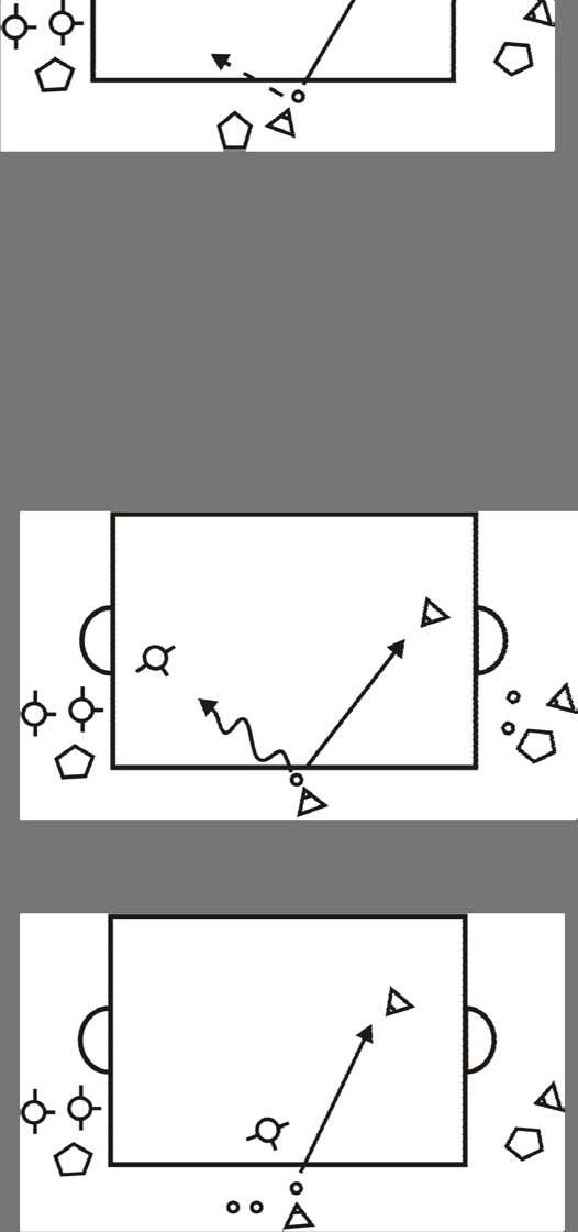 6) 2v1, separate the attackers, spreading out the field. Next start with the attackers separated from each other. One attacker begins by his or her goal and their teammate is on the side.