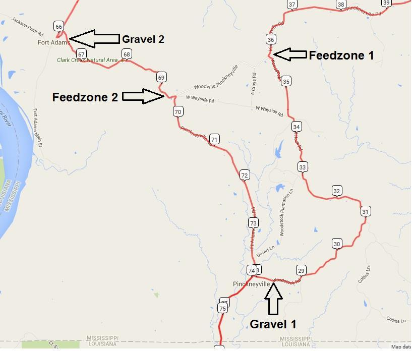 Gravel and feedzones 1 & 2 Feedzone 1 [Pickneyville Rd. & Woodstock Rd. 2mi east of Ft. Adams Pond Rd] o ~35min From Parker Park: Head northwest on Commerce St, travel 1.