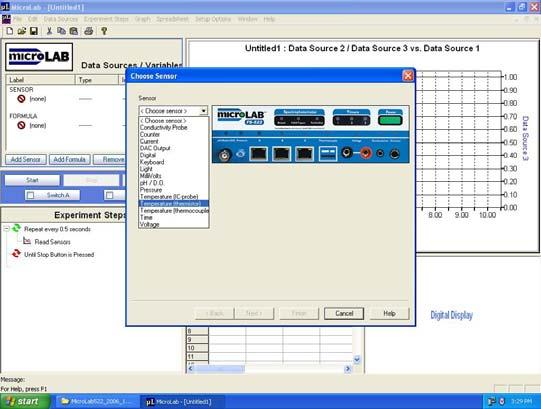 You will be able to create a graph in the top window. Press the add sensor button 3.