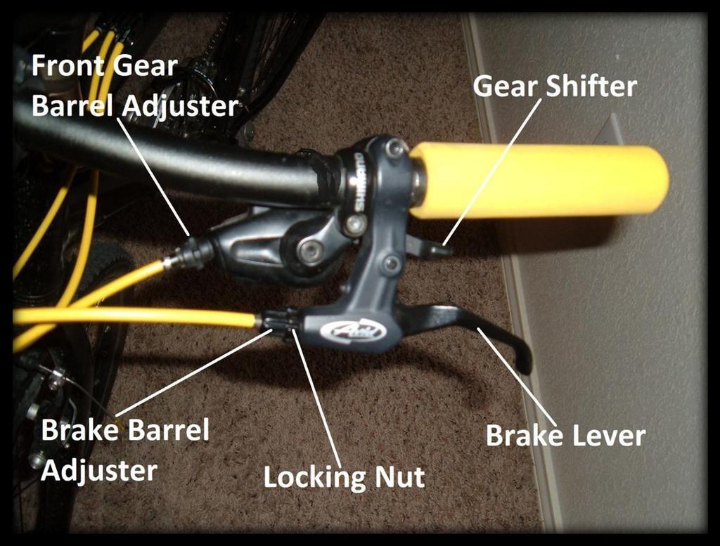Chapter 3 21 (Fig. 7) 5. Locate the brake cable screw. (Fig. 8) Follow the brake cable down to the brake arm. 6. Loosen the screw. Turn counter clockwise using a 5 mm hex wrench. 7. Reassemble the brake arms.