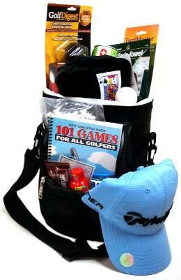 (10749) Contents Include: Golf Cooler Bag Golf Shag Bag TaylorMade Golf Hat Golf Games Book Golf Digest Scrubber Brush