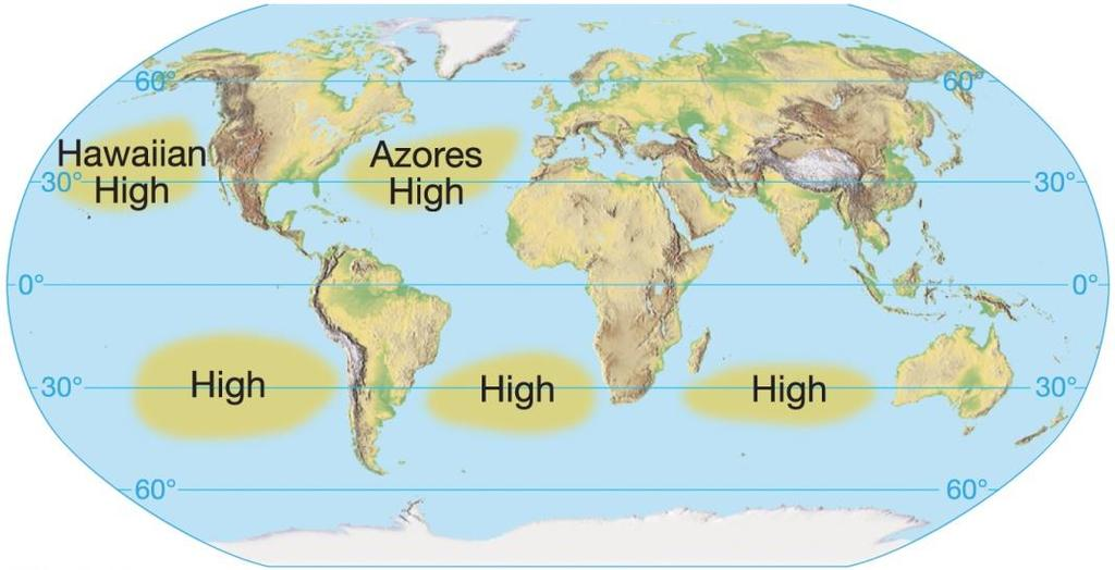 The General Circulation of the Atmosphere Components of the general circulation Subtropical highs Persistent zones of high pressure near 30 latitude in