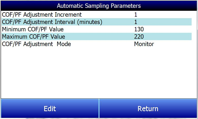 COF/PF Adjustment Increment When adjustments are made automatically, this value indicates the size of the step that is made when the COF/PF is changed.