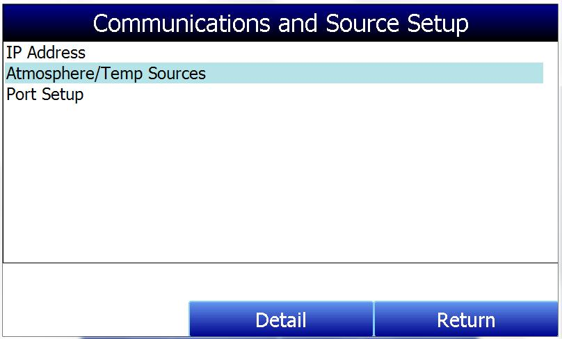 Communications and Source Setup This screen allows the user to view and modify the method of communications between the instrument and external devices.